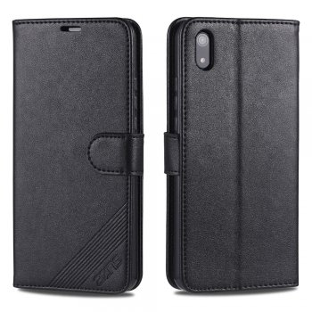 Xiaomi Redmi 7A - AZNS PU Leather Wallet Case Cover, Black | Telefona vāciņš maciņš