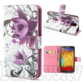 Samsung Galaxy Note 3 III N9000 N9002 N9005 Colorize! PU Leather Book Case Cover Stand, lotus flowers