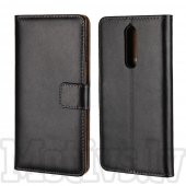 Nokia 8 Split Leather Wallet Stand Case Cover, black – vāks vāciņš maks maciņš