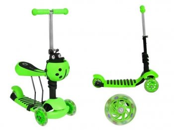 3-Wheel Scooter with Seat Running Bike Skateboard for Toddlers, Green