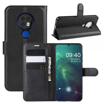 Nokia 6.2 / 7.2 Litchi Skin Leather Wallet Case Stand, black - vāks maks