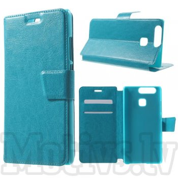 "Huawei P9 5.2"" Crazy Horse Leather Card Wallet Cover Case, blue – vāks maks"
