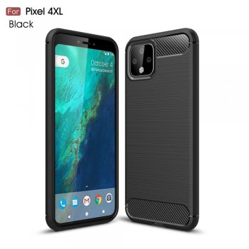 Google Pixel 4XL Carbon Fibre Brushed TPU Back Case Cover – Black | Vāciņš Bamperis