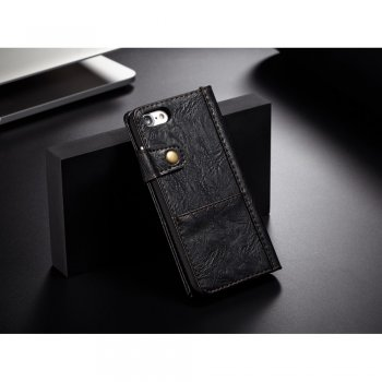 "Apple iPhone 7 8 4.7"" Smooth Leather Vintage Wallet Case Stand, black - vāks maks"