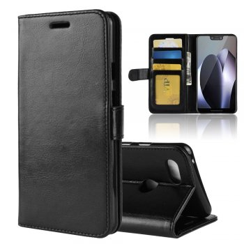 Google Pixel 3 XL Leather Wallet Book Case - Black | Atverams ādas maciņš