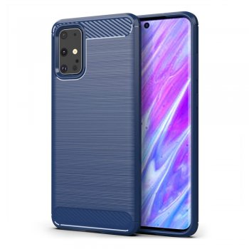 Samsung Galaxy S20+ Plus Carbon Fiber Brushed TPU Gel Case Bumper Cover, blue - обложка бампер