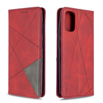 Samsung Galaxy A41 (SM-A415F) Geometric Leather Phone Case Cover Card Holder Shell, Red