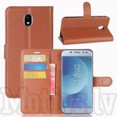 Samsung Galaxy J3 2017 SM-J330F Litchi Skin Leather Wallet Case Stand, brown - vāks maks