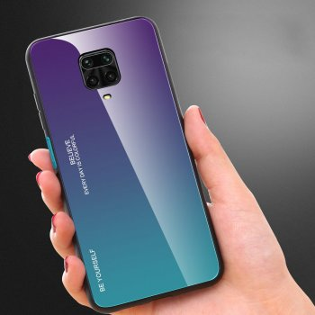 Xiaomi Redmi Note 9 Pro / 9s / Max Gradient Glass TPU + PC Phone Case - Purple / Blue | Telefona vāciņš bamperis