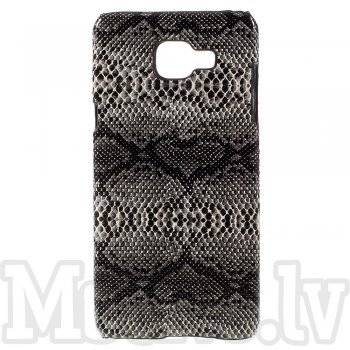 Samsung Galaxy A5 2016 SM-A510F Duos Snake Skin Leather Coated Hard Plastic Case Shell Cover, black