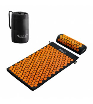 4Fizjo Acupressure mat acupuncture massage mat + Pillow (72 x 42cm, Black / Orange)