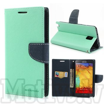 Samsung Galaxy Note 3 III N9000 N9002 N9005 Mercury Goospery Fancy Diary Wallet Stand Case Cover, Cyan/Navy