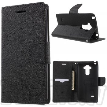 LG G4 Stylus H635 G Stylo Mercury Goospery Fancy Diary Case Leather Cover, black – vāks maks
