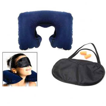 Inflatable Travel Neck Pillow with Mask and Ear Plugs