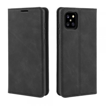 Samsung Galaxy Note 10 Lite (SM-N770F) Silky Touch PU Leather Wallet Case Cover - Black