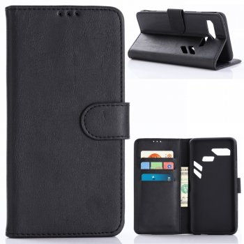 PU Leather Magnetic Wallet Case for Asus ROG Phone (ZS600KL) - Black - Обложка Книжка Чехол