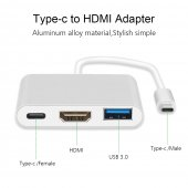 USB 3.1 Type-C Hub Power Splitter and HDMI output for Macbooks 3 in 1 - USB переходник с видеовыходом