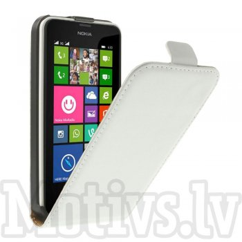 Nokia Lumia 630 / 630 DS Dual SIM RM-978 635 RM-974 Split Leather Vertical Flip Case Cover, white - vāks vāciņš maks