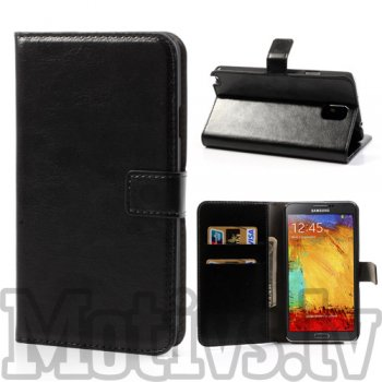 Samsung Galaxy Note 3 III N9000 N9002 N9005 Crazy Horse Wallet Leather Case, black - vāciņš vāks apvalks pārvalks