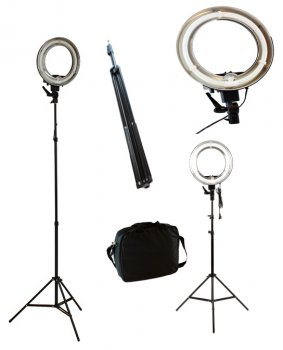 Ring Light Pastāvīgās dienas gaismas komplekts ar statīvu, difuzoru un somu |Photo Video Ring Lamp Kit with Tripod Bag and Difuser