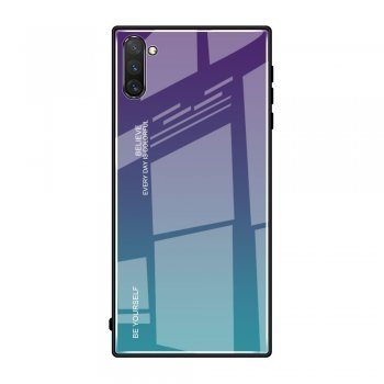 Gradient Tempered Glass TPU + PC Mobile Back Cover for Samsung Galaxy Note 10 (SM-N970F) - Purple / Blue | Vāks bamperis