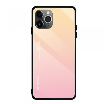 Apple iPhone 11 Pro Gradient Glass TPU + PC Phone Case - Gold / Pink | Telefona vāciņš bamperis