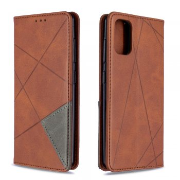 Samsung Galaxy A41 (SM-A415F) Geometric Leather Phone Case Cover Card Holder Shell, Coffee