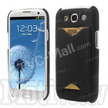 Samsung Galaxy S3 SIII i9300 i9305 Rubberized Hard Case Cover Shell with card slot, black - cietais vāciņš