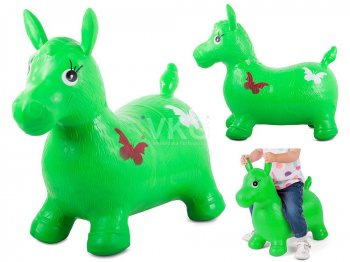 Children Rubber Bouncy Horse Toy, Green