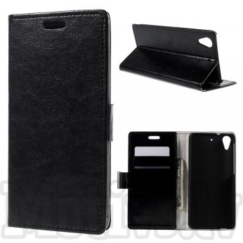 HTC Desire 626 Crazy Horse Leather Book Case Cover Stand, black - vāks maks