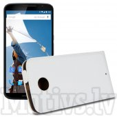 Motorola Google Nexus 6 XT1100 XT1103 Split Leather Vertical Flip Magnetic Case Cover, white - vāks vāciņš maks maciņš