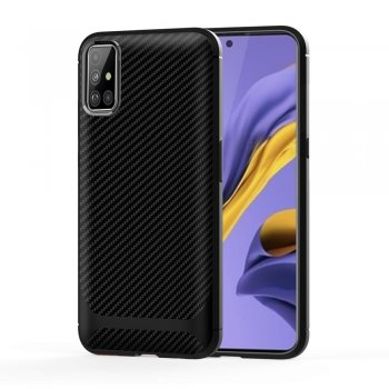 Samsung Galaxy A51 (SM-A515F) Carbon Fiber Anti-drop TPU Case Cover - Black | Vāks bamperis