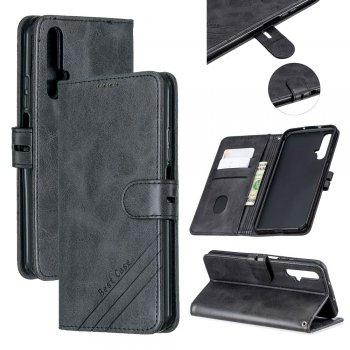 Huawei Honor 20 / 20s / Nova 5T - PU Leather Wallet Case Cover, Black | Telefona vāciņš maciņš