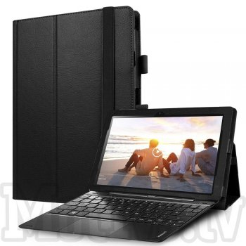 "Lenovo Ideapad Miix 310 10.1"" Litchi Leather Stand Smart Case Cover, black - vāks apvalks pārvalks"