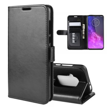 Motorola One Zoom PU Leather Wallet Case Cover, Black | Чехол бампер