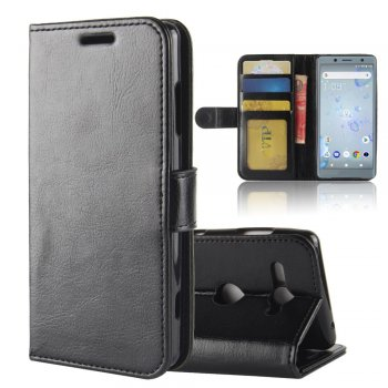 Sony Xperia XZ2 Compact H8314 H8324 Crazy Horse Leather Card Wallet Cover Case Stand, black