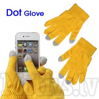 Capacitive Touch Screen Knitted Gloves for iPhone, Samsung, HTC, LG, Nokia, Sony Smartphones, yellow - cimdi skārienjūtīgam ekrānam