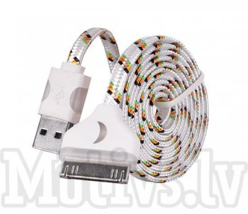 USB Data Charger Cable 30 Pin for Apple Iphone 4 4S, iPad 1/2/3, iPod, LED white – kabelis, vads, 1m