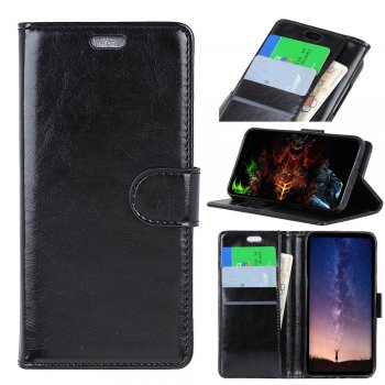 Nokia 9 PureView (2019) Textured Leather Wallet Phone Case with Stand - Black | Melns ādas maciņš