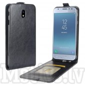 Samsung Galaxy J3 2017 SM-J330F Leather Vertical TPU Flip Cover Case with Pocket, black - vāks maks