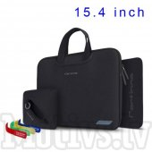 "Cartinoe Breath Zipper Pouch Bag for MacBook Pro 15.4"" 4 in 1 notebook Black - soma aploksne planšetdatoram"