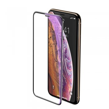 "Apple iPhone X / Xs / 10 / 11 Pro 5.8"" Baseus Full-screen 5D Tempered Glass with Speaker Dust, black 