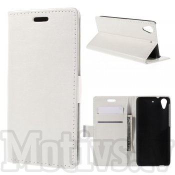 HTC Desire 626 Crazy Horse Leather Book Case Cover Stand, white - vāks maks