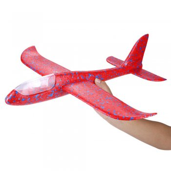 Hand Throwing Foam Airplane Glider with 8 LED Lights 47x48 cm, Red
