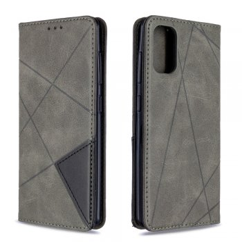 Samsung Galaxy A41 (SM-A415F) Geometric Leather Phone Case Cover Card Holder Shell, Gray