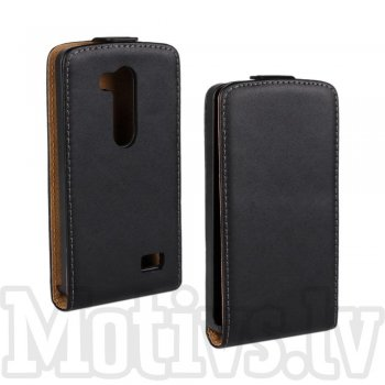 LG L Fino D295 Dual SIM Genuine Split Leather Vertical Case - Black, maks maciņš vāks vāciņš