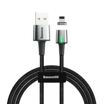 Baseus Apple iPhone Lightning / USB Zinc Magnetic Cable 2.4A 1m, Black | Lādētājvads