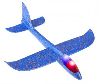 Toy Airplane with 2 LED Lamps, 48x47 cm, Blue