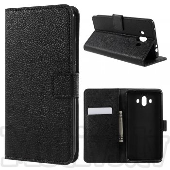 Huawei Mate 10 ALP-L09 ALP-L29 Stone Grain Leather Wallet Case Stand, black