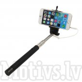 Extendable 3.5mm minijack button Selfie stick monopod pole for mobile phone, Black - selfi nūja, monopods